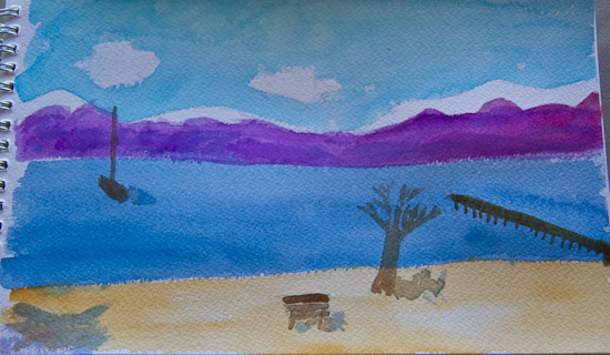 Lake Tahoe Watercolor