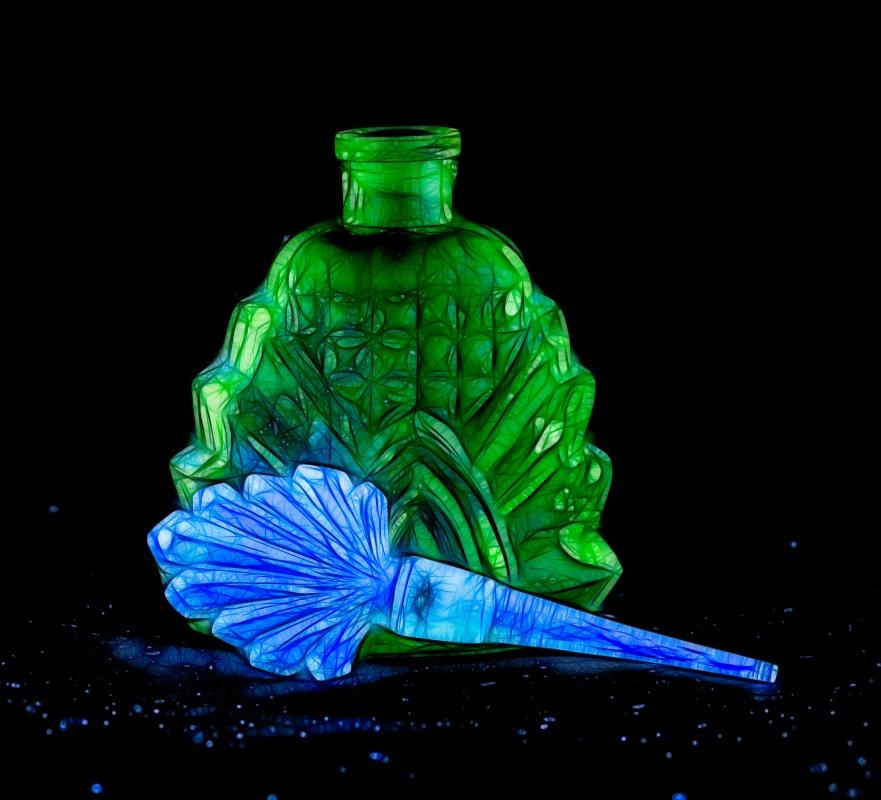 Japanese fluorescent perfume bottle.