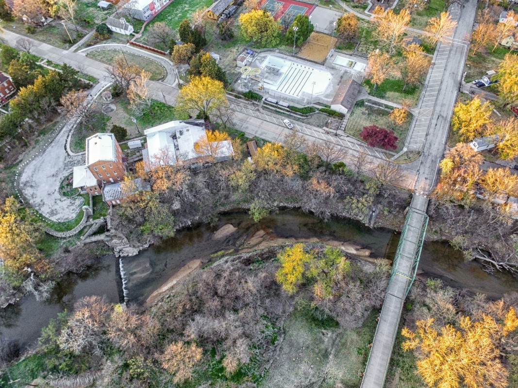 Drone's eye view of the Old Mill, including the swimming pool