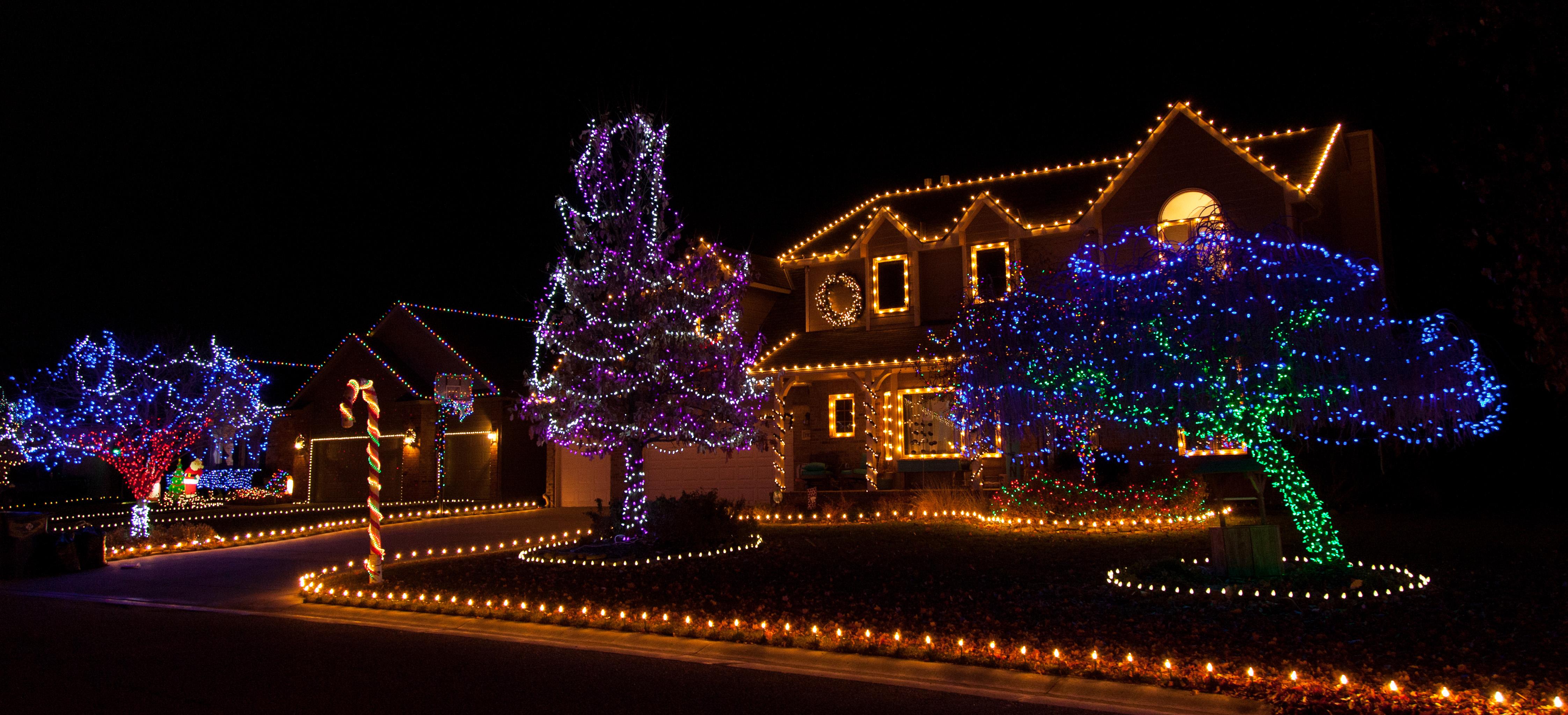 Colorful Christmas Lights on Candy Cane Lane